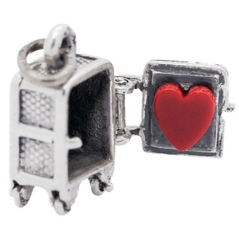 Vintage Sterling Silver Heart Safe Articulated Charm