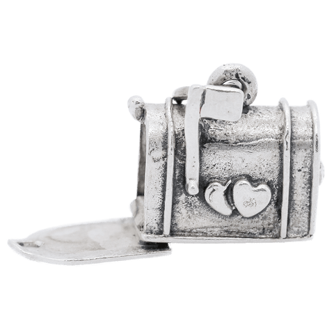 Vintage Sterling Silver Heart Mailbox Articulated Charm