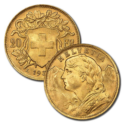 "1900-1947 Swiss ""Helvetia"" Gold 20 Francs - PQ Brilliant Uncirculated"