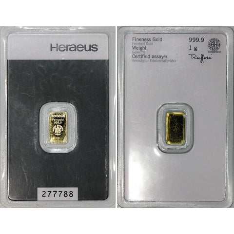 1 gram Heraeus .9999 Gold Bar in Assay Card
