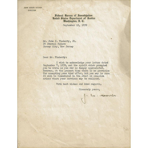 J. Edgar Hoover Typed & Signed Letter Dated Sept. 15, 1939