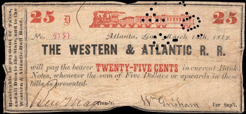 1862 Western & Atlantic Rail Road 25¢ Note (Uniface/Stamp Canceled) ~ Very Good (Margin Issues)