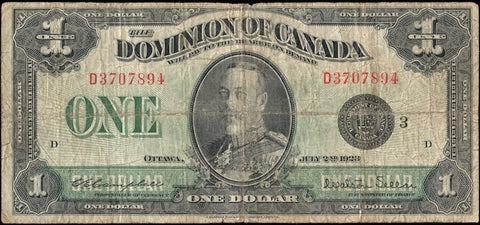 "1923 Dominion of Canada ""King George V"" $1 (DC-25n) - Very Good"