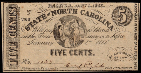 1863 State of North Carolina 5¢ Note Cr. 148 ~ Very Fine/Extremely Fine