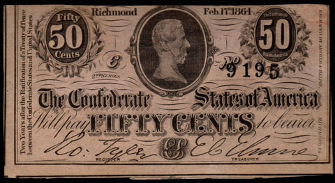 T-72 1864 Confederate States of America 50¢ Note ~ Crisp Uncirculated