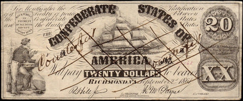 T-18 1861 Contemporary Counterfeit $20 Confederate States of America Note (CT-18/107A-1) ~ Crisp Very Fine