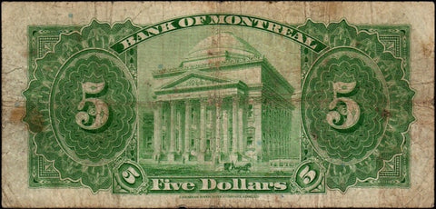 1935 Bank of Montreal $5 Bog/Gordon (Ch. 505-60-02) ~ Very Good/Fine
