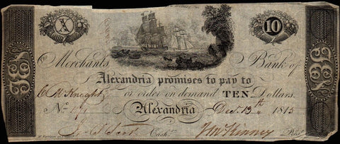 1815 Merchants Bank of Alexandria, D.C. $10 (Haxby DC-25 G24) ~ Crisp Fine/Very Fine