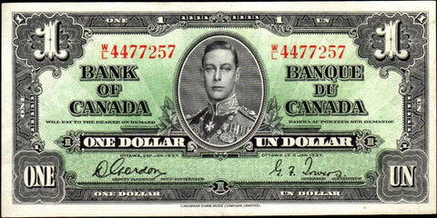 1937 Bank of Canada $1 W|L Gordon/Towers (BC-21c) ~ Crisp & Bright Extremely Fine