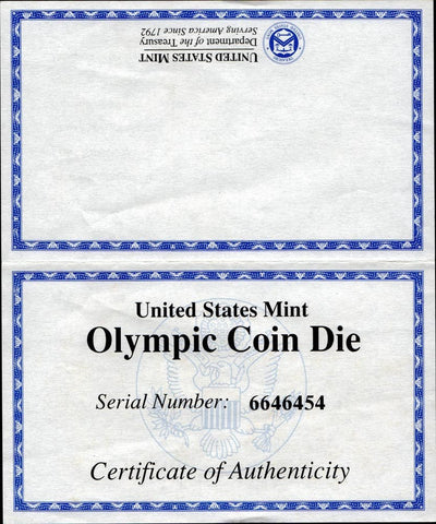 1996-P $1 Olympic High Jump Proof Cancelled Coin Die - Superior Gem Proof