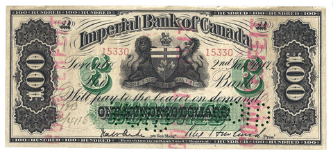 1917 $100 Imperial Bank of Canada Counterfeit, Ch# 375-16-24C ~ Very Fine
