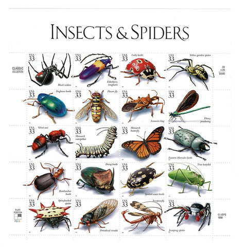 1999 33c Scott #3351 Insects & Spiders Sheet (20) MNH
