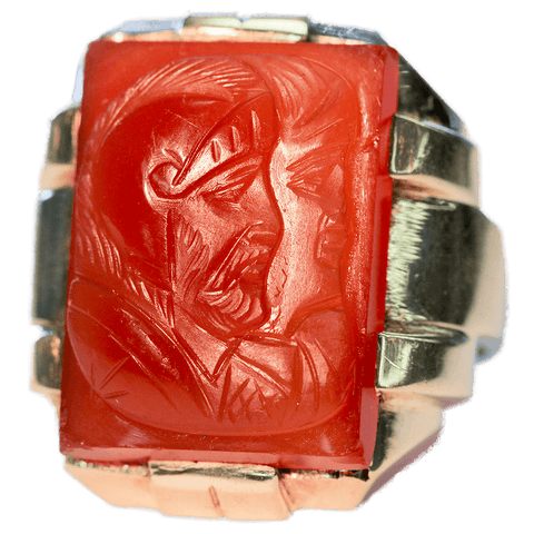 Gentleman's Large Double Intaglio Roman Soldiers Carnelian 10K Gold Ring - Size 9 1/4