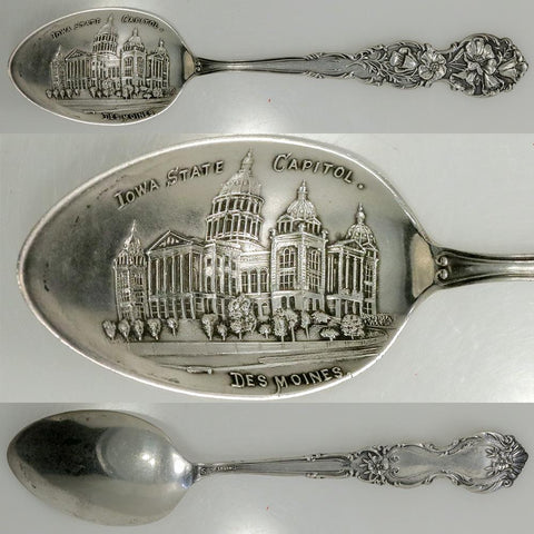 Early 20th Century Shepard Mfg Co Sterling Iowa State Capital Souvenir Spoon