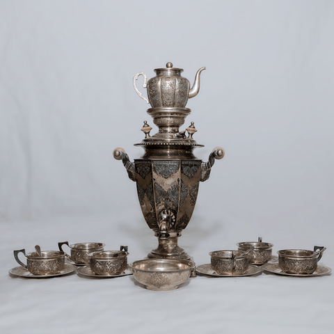 19-Piece Silver Iranian Tea Set - .800 Silver - Heater, Pot, Cups, Saucers, Spoons, Bowl