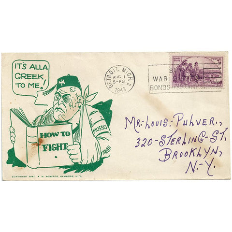 Aug 1, 1943 Its Alla Greek To Me Mussolini Patriotic Cover