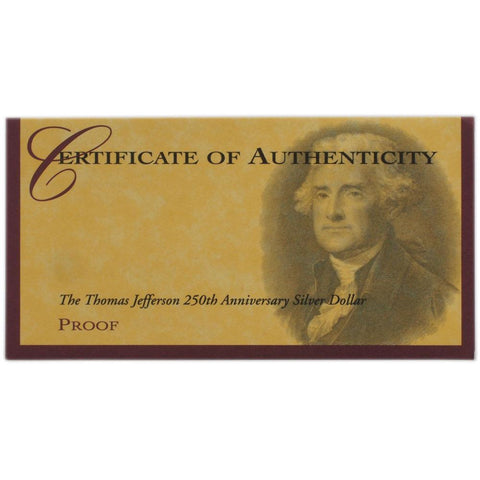 1993 Thomas Jefferson 250th Anniversary Silver Proof - Gem Proof in OGP w/ COA