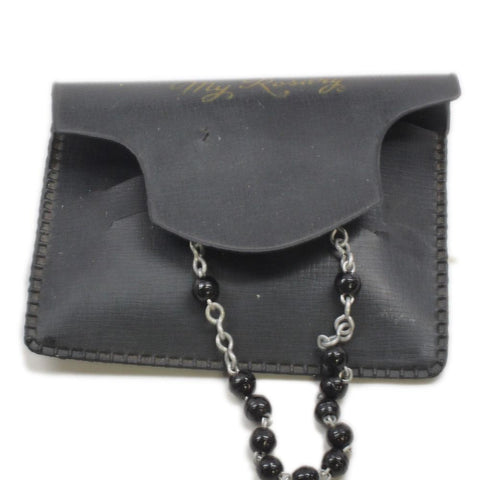 "Vintage ""My Rosary"" Black Beads w/ Pouch"