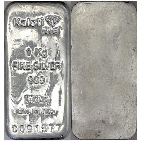 Kaloti 1 Kilo Silver Bullion Bar | 32.15 Ounces Net Pure Silver