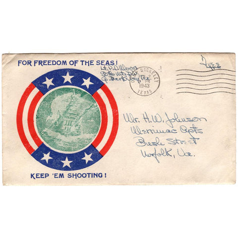 Feb 2, 1943 Freedom of the Seas Patriotic Cover Camp Barkeley