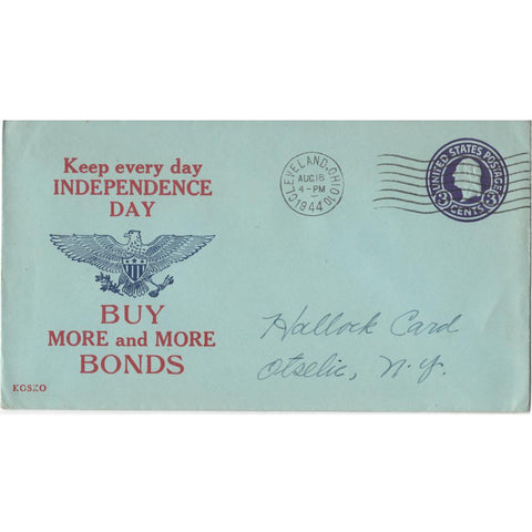 "1944 ""Keep Every Day Independence Day"" WW2 Patriotic Cover"