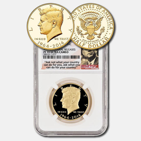 2014 50th Anniversary Gold Kennedy Half Dollar ~ NGC PF 70 Ultra Cameo