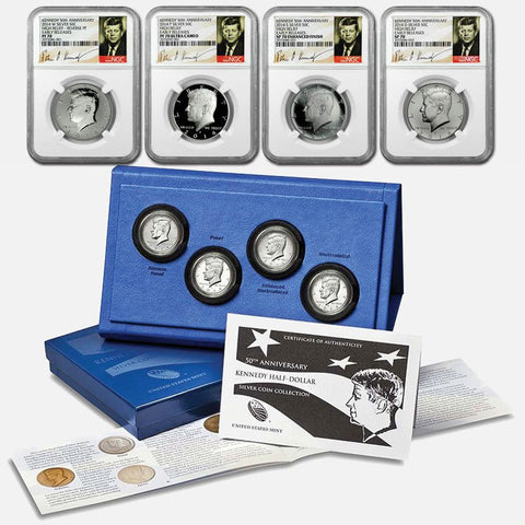 2014 50th Anniversary 4-coin Silver Kennedy Half Dollar Sets ~ OGP & Certified