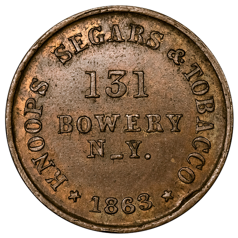 1863 Knoops Segars/C. Bahr Mule Civil War Store Card Token (NY-630C-11a) - Choice BN Uncirculated