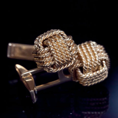 14K Gold Rope Box Knot Cufflinks