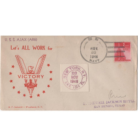 "Nov. 28 1946 ""Let's All Work for Victory"" WW2 Patriotic Cover"