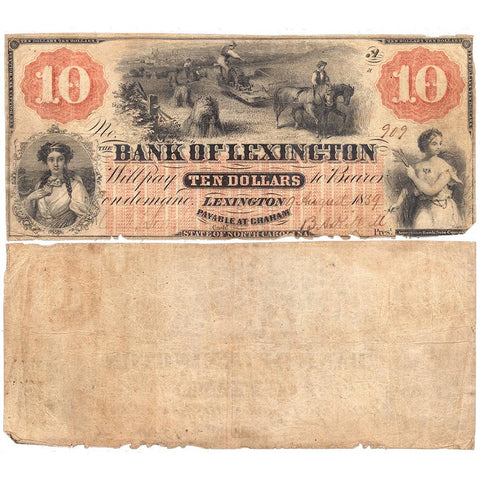 1859 Bank of Lexington, North Carolina $10 Haxby NC-30 G4a ~ Net Very Good