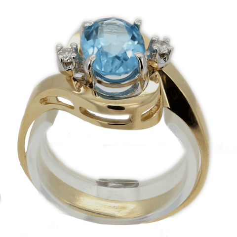 14K Blue Topaz & Diamond Ring, Size 6 3/4