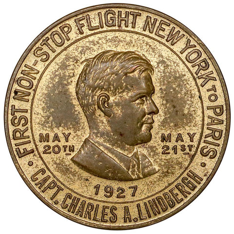 1927 Lucky Lindbergh Coin 32mm Bronze Medal - About Uncirculated