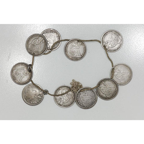 10-Coin Seated Liberty Dime Love Token Bracelet