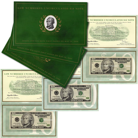 "Three 1999 $10 Matching Serial Number ""Low Numbered"" Notes - Gem Uncirculated"