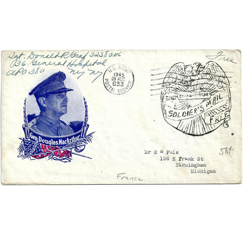 Aug 28, 1945 General MacArthur Patriotic Cover France to US Ex-Puls