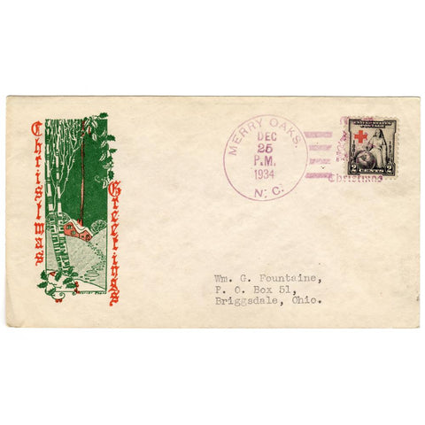 Dec 25, 1934 Christmas Greetings Cover with Merry Oaks, NC Fancy Cancel