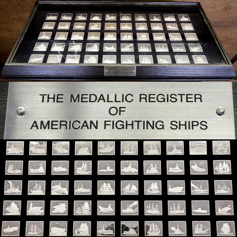 Medallic Register of American Fighting Ships Complete 50 Sterling Silver Ingot Set