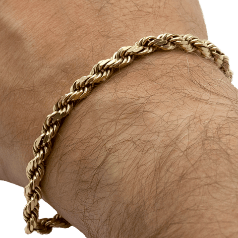 "14K Yellow Gold Men's 8"" Diamond Cut Rope Chain Bracelet - 12.85 DWT"