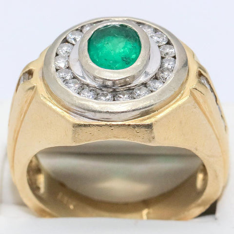 Men's 14K Solid Gold 3+ Ct Natural Emerald and Diamond Ring - Size 11