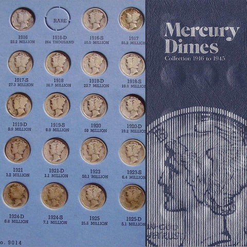 1916 to 1945 Mercury Dime Sets (no 16-D) in Whitman Folders - G/VG to XF/AU