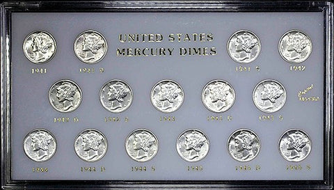 "1941-1945 Mercury Dime ""War Years"" 15 Coin Set ~ Brilliant Uncirculated & Housed In Deluxe Lucite"