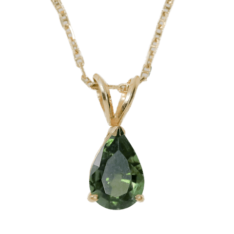 "14K Gold 2.25 TCW Moldavite Teardrop on 18"" Necklace"
