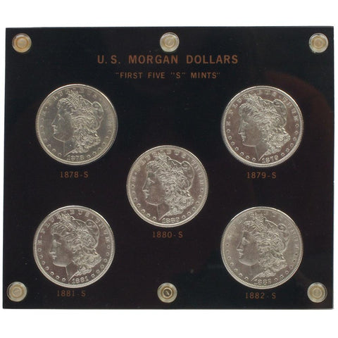 "1878-S to 1882-S U.S. Morgan Dollars ""First Five 'S' Mints"" Set - PQBU in OGP"