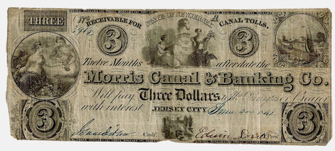 1841 Morris Canal & Banking Company $3 Jersey City, NJ ~ Fine