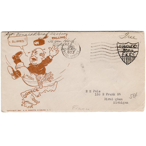 Aug 28, 1943 - Mussolini Slipped Patriotic Cover, Custom Free Mail Stamp, Ex-Puls