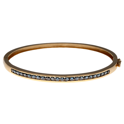 14K Gold & Sapphire Hinged Oval Bangle Bracelet - Inner Diameter 6 3/4""