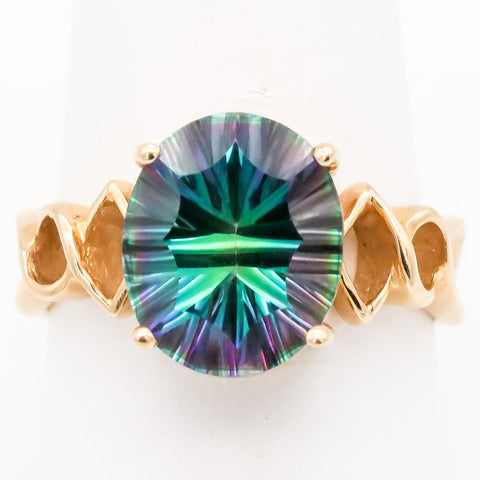 Retro 14K Gold and Fancy Cut 6 Carat Mystic Topaz Ring - Size 8