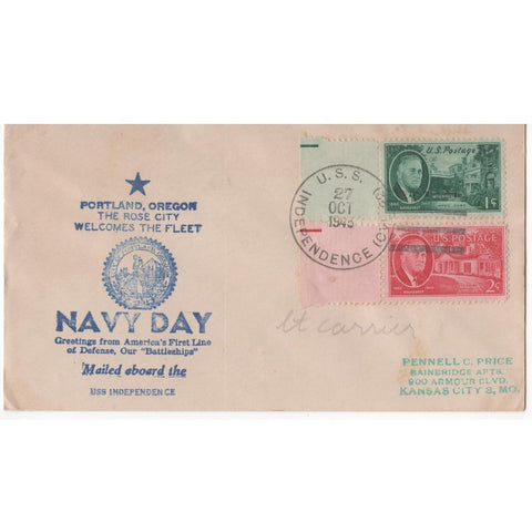 "Oct. 27, 1943 ""Navy Day"" WW2 Patriotic Cover"