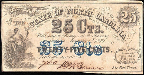 "1864 State of North Carolina ""Prosperina"" 25¢ Fractionals Cr.150 - AU to Uncirculated"